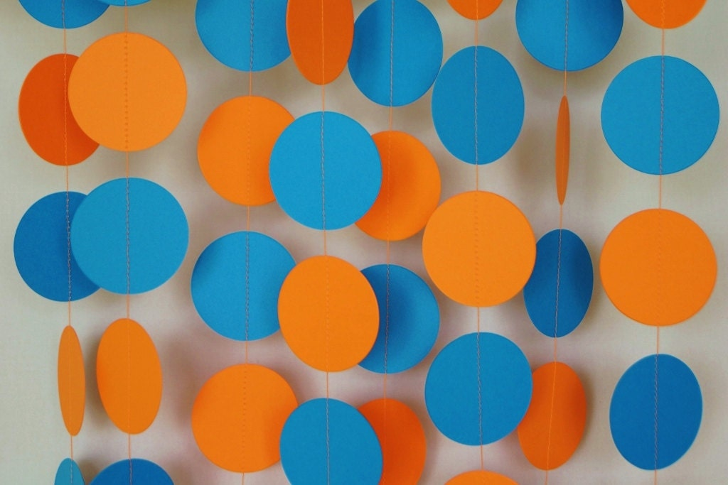 orange and blue paper garland birthday party decorations