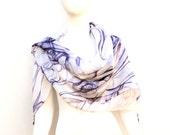 White Silk Scarf Amethyst Swirls Beaded Tassels