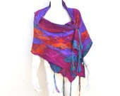 Jewel Coloured Nuno Felted Silk Wrap