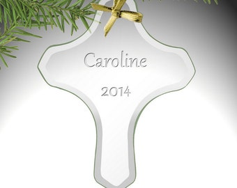 Personalized Holy Cross Glass Ornament