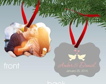 Kissing Doves Photo Ornament