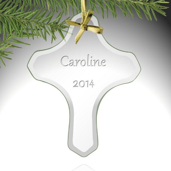 Personalized Baptism Cross Glass Ornament By Specialornaments: Personalized Holy Cross Glass Ornament