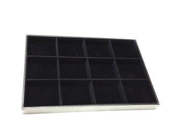 1PC Black Velveteen 12 slots Jewelry Display