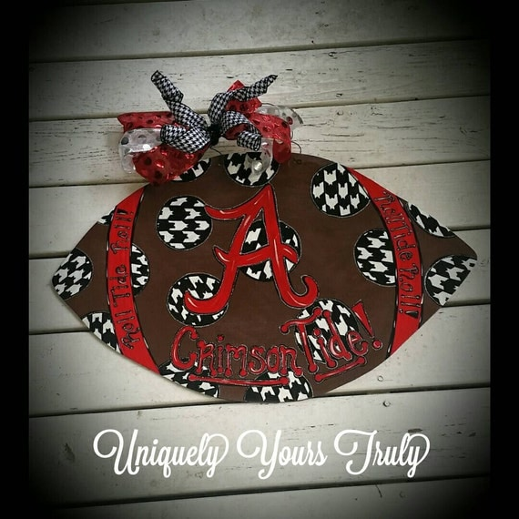 Alabama football door hanger by uniquelyyourstruly on etsy for Alabama football wall mural
