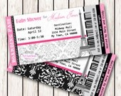 Paris Boarding Pass Invitation Ticket Eiffel Tower Baby Shower Birthday, Bridal Shower   Print at Home, DIY Baby Shower Ticket Cards