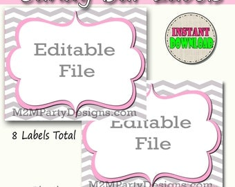Candy Buffet Labels  Chevron PInk Print EDITABLE Card, Custom Candy, Popcorn, Snack, Ice Cream, Cookie Buffet Labels, Instant Download
