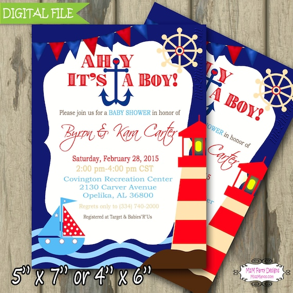 ahoy it 39 s a boy invitation ahoy its a boy baby shower invitation
