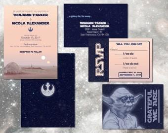 Star Wars Wedding Invitation Set // Digital Custom Invitations // Geeky Wedding Invitations // Custom Wedding Invite // DIY Wedding