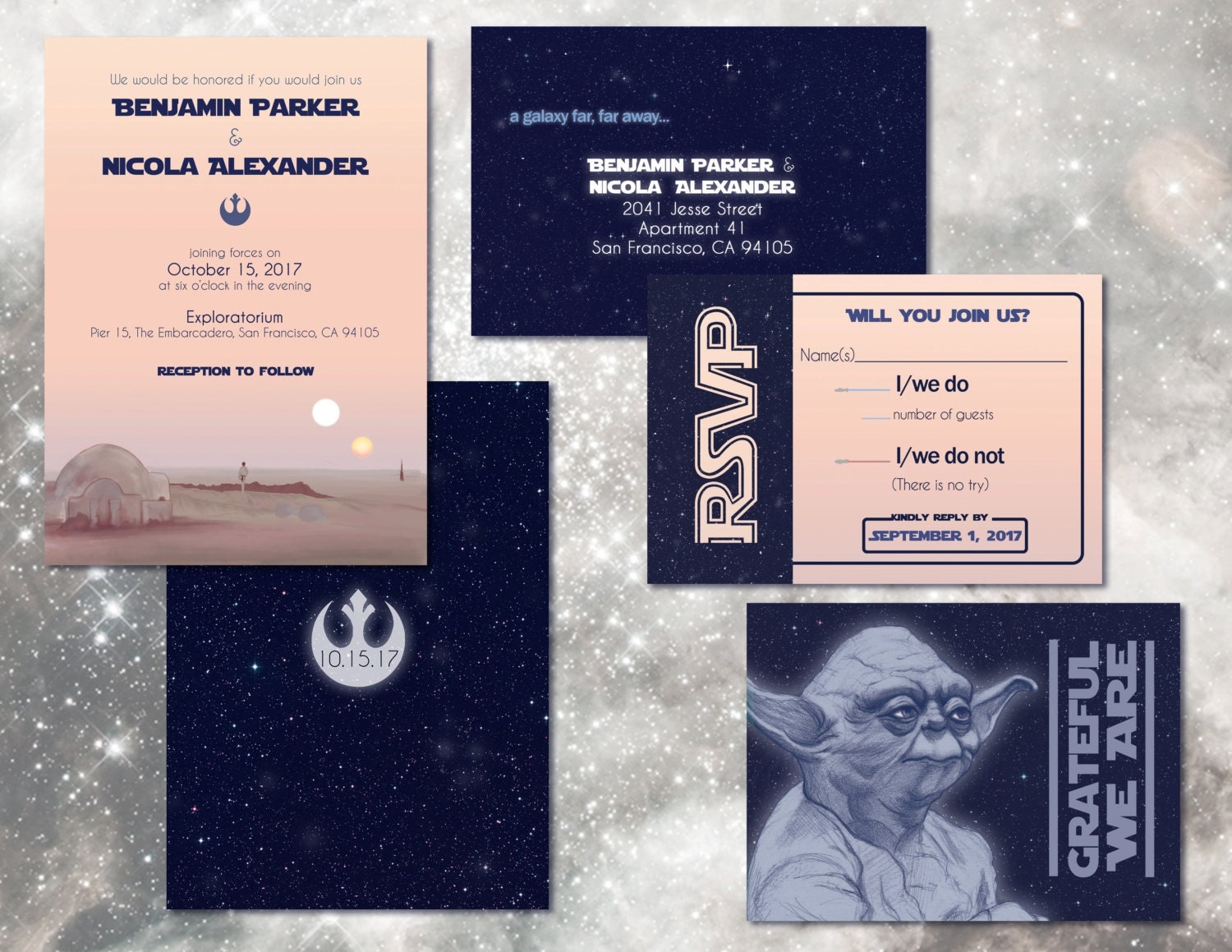 star wars wedding invitation set // digital custom invitations, Wedding invitations