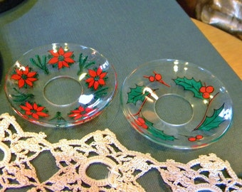 Set of 2 Different Holiday Candle Bobeches- Vintage Christmas! Holly and Poinsettia Patterns