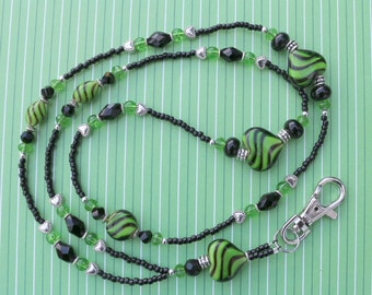 O O A K - Lampwork Glass Beaded Lanyard ID Badge Holder - YIPES STRIPES - C142