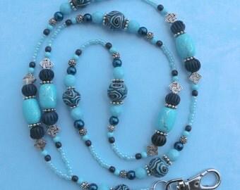 O O A K - Polymer Clay, Wood, & Glass Beaded Lanyard ID Badge Holder - SWIRLY BLUES - C144