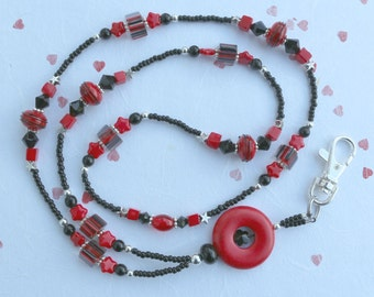 Lampwork & Cane Glass Beaded Lanyard I D Badge Holder - SCARLET RIBBONS - W120