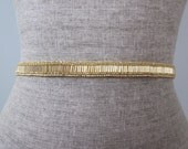 Skinny Gold Beaded Wedding Sash / Belt, Simple Bugle & Seed Bead Sash