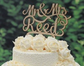 Rustic Wood Wedding Cake Topper Monogram Mr and Mrs cake Topper Design Personalized with YOUR Last Name 045