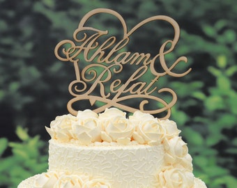 Rustic Wedding Cake Topper Linden Wood Cake Topper  Personalized Design with YOUR First Names 030