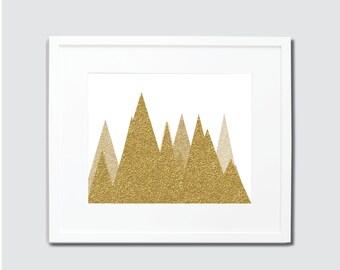 Gold Glitter Mountains Digital Art Print, Mountain Home Decor, Gold Art, Glitter Home Decor, Mountain Art