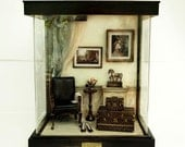The Room with Black chairs and horses, Vintage Antique Dollhouse Miniatures 1/12