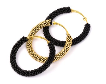 Golden Adjustable Bangles/Black Bangle Bracelets/Golden Bangle/Bangle Bracelets Set/Brass Accessories/Crocheted bracelets/Bangles Tris
