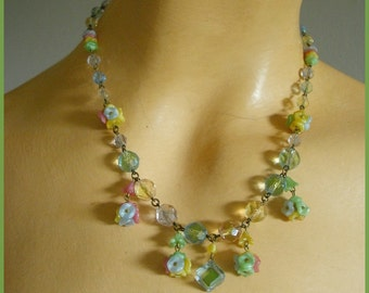 Czech Glass Floral Crystal Necklace