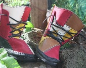 Leather Patchwork Moccasin Boots