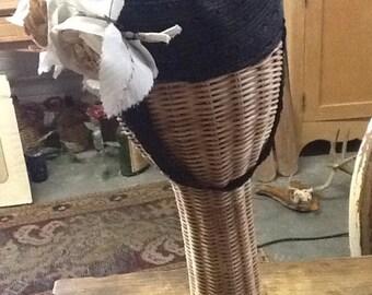 Vintage Black Woven Tilt Hat