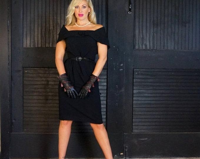 "1940s Bombshell 1950s Black Cocktail Dress MEDIUM Silk Crepe Vintage 40s early 50s Evening Dress Draped Off Shoulder Mr ""T"" Frank Tisch USA"