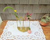 SALE Vintage Brass Hanging Test Tube Vase 6 Piece