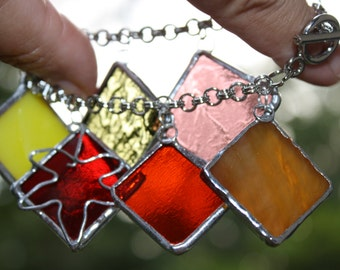 Bracelet Stained Glass Pieces of Autumn Original Handcrafted Jewelry Art With Heart Made in the USA
