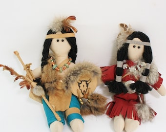 Vintage Native American Plush Rag Doll Collectibles Set of Two Art Dolls