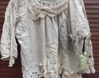 RITANOTIARA  Southern Gothic Couture OSFA linen vintage lace crochet artist shirt calligraphy pocket oversized prairie asymmetric hem OOAK