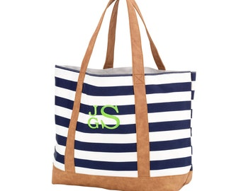 Monogrammed Navy and White Stripe Tote, Travel Bag