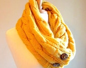 Infinity Scarf Circle Loop Mustard Yellow Gold Braided Cable Knit Neckwarmer Scarves with Buttons Fall Winter Women Girls Accessories