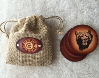 Leather Bear Coaster set of 4 with Gift Bag