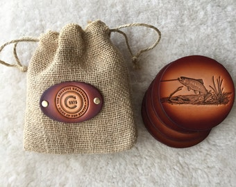 Leather Trout Coaster set of 4 with Gift Bag