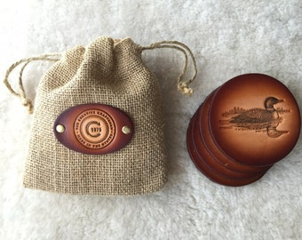 Leather Loon Coaster set of 4 with Gift Bag