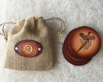 Leather Pheasant Coaster set of 4 with Gift Bag