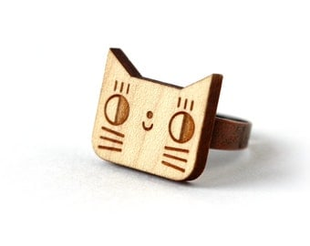 Cat ring - lasercut wood ring - wooden animal ring - lasercut - minimalist jewelry