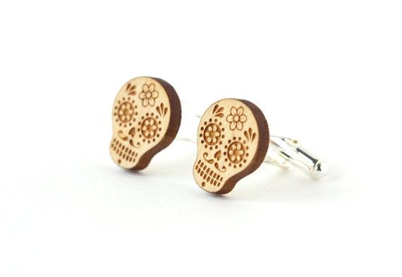Calavera cufflinks - sugar skull wood cuff links - day of the dead - wooden ethnic jewellery - mexican - lasercut - accessory for men