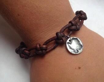 Washington Island Bracelet Handknotted Leather Bracelet Silver Baby Island Leather Bracelet Fine Silver