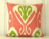 Bright Pillows, Decorative Pillow, Pink Ikat, Kravet 'Bansuri' Peony Fabric, 18x18 Pillow, Linen Fabric, Throw Pillow, Accent Pillow