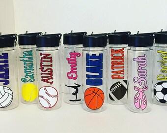 Personalized Sports Water Bottle, Soccer, Football,Baseball,Dance,Tennis,Baseball,Gymnastics, Basketball, Volleyball 22oz BPA Free