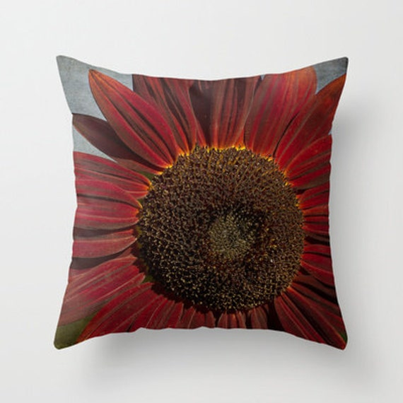 Decorative Pillows With Sunflowers : Items similar to Primitive Sunflower Decorative Throw Pillow, Art Throw Pillow, Floral Pillow ...