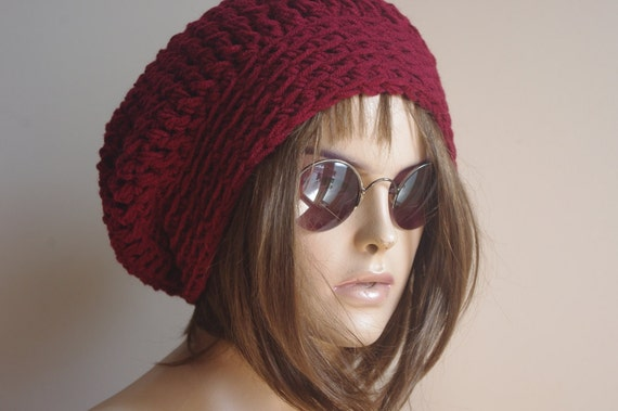 848b285438f BURGUNDY Womens Hat Slouchy Hat Slouchy Women Hat Slouch Beanie Cable Women  Hat Oversized Hat Cable Hat Chunky Knit Hat Beanie
