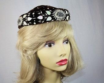 Vintage Brown Velveteen Pillbox Hat Faux Pearl Beaded Hat  Nat Frank Vintage Hat