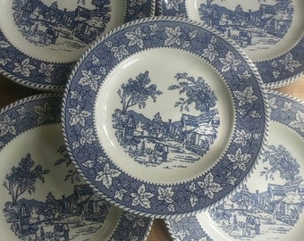 Set of 8 Homer Laughlin, Shakespeare Country, Dinner Plates Blue Leaf Color