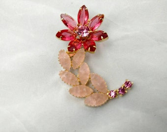 Rhinestone Flower Brooch, Pink Rhinestones and Opaque Glass Stones