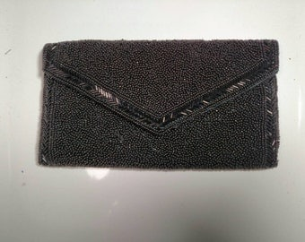 Walborg Black Beaded Evening Clutch