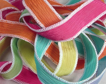 Silk Wrap Ribbon, Silk Ribbon Wrap ~ Rainbow Sherbet Silk Wrap Ribbon - One Ribbon
