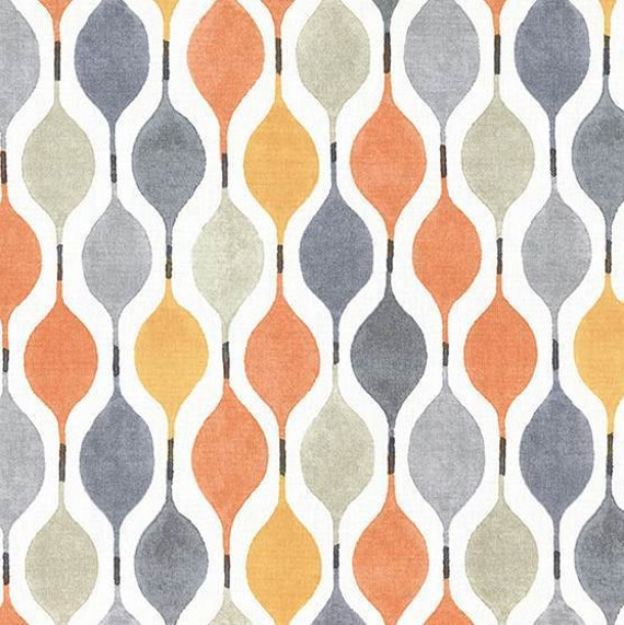 Orange Grey Geometric Upholstery Fabric - Modern Yellow Grey Roman ...